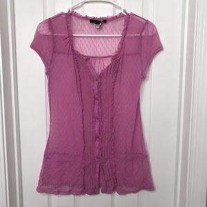 Express Purple Lilac See Through Blouse / Shirt